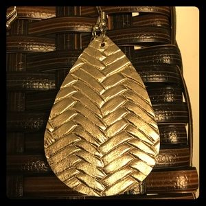 Weave Faux Leather Earrings- Metallic Gold